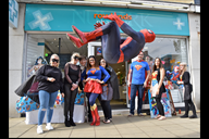 Spiderman takes flight watched by Formby's Rowland
