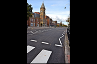 Southport's new look Lord Street with a black road