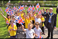 Pupils from Roby Mill primary school get a send of