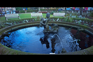 Blue waters... the ornamental pond and fountain on