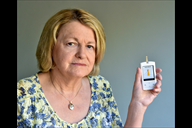 Elizabeth Perry and her blood glucose monitoring e