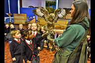 Pam from Stockley Farm Birds of Prey Centre with B