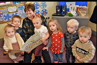 Donna Callaghan with some of the nursery children