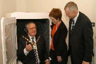 Mayor of Sefton Coun Tommy Mann tries hearing test