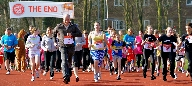 On track... Runners in the Sport Relief Mile set o
