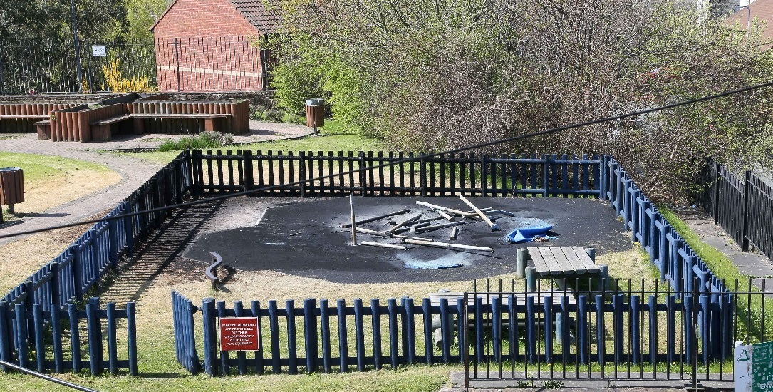 TORCHED PLAY AREA WILL BE REBUILT