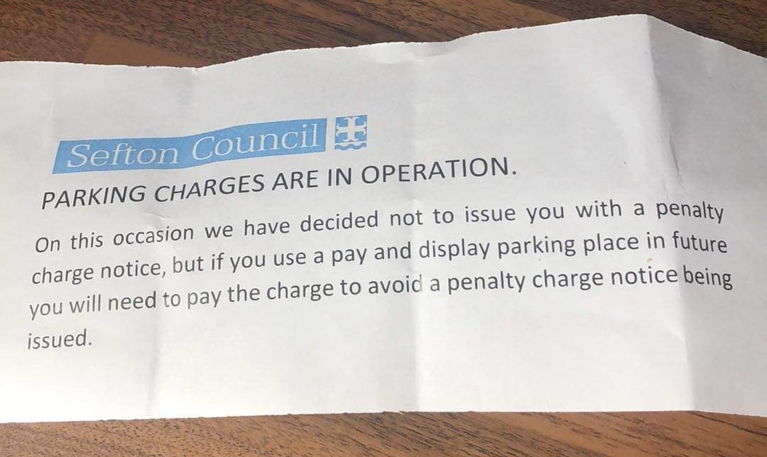 Sefton motorists are given 'warning notes' that they must pay for parking - or risk a fine