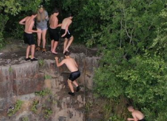 Police drone images show group of youths at dangerous quarry