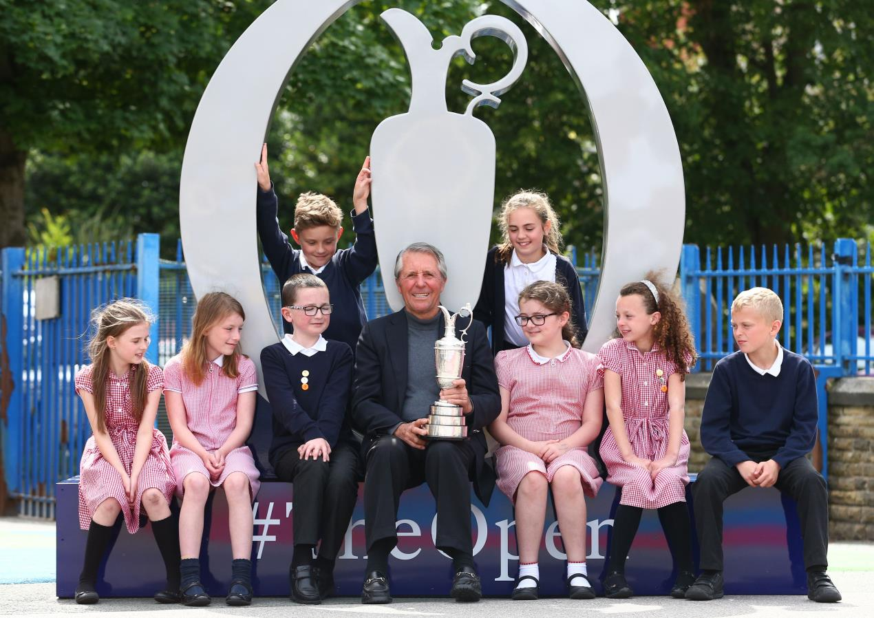 Former Open winner reunited with famous Claret Jug at primary school