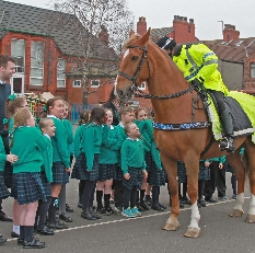 PC Dave Robinson on police horse Hilbre also known