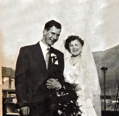 Sheena and John Robertson on there wedding day 65y